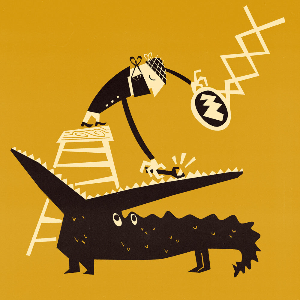 Mid Century Modern Crocodile Illustration