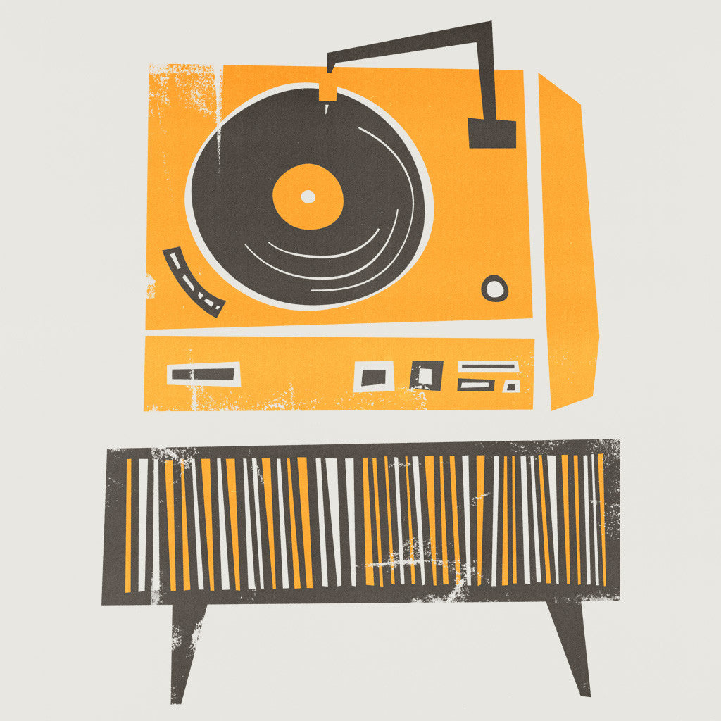 Abstract Turntable Illustration, Retro Vinyl Deck Player, Mid century orange, fox and velvet commissions