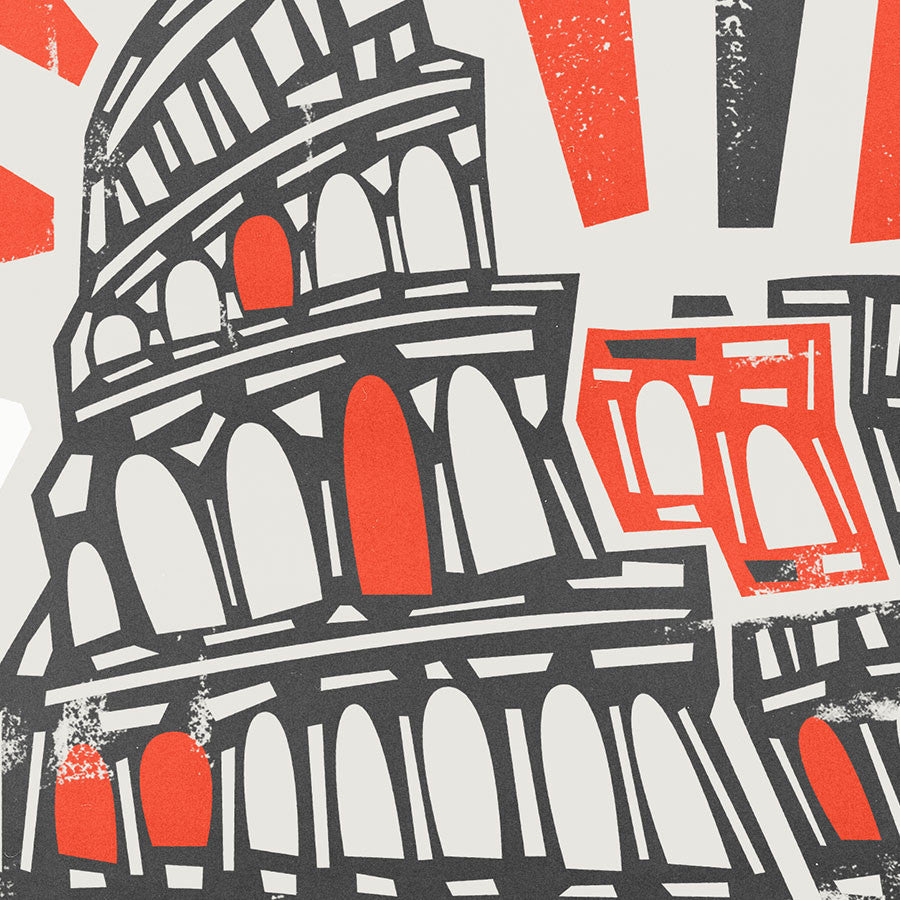 Colosseum Rome illustration greetings card by fox and velvet