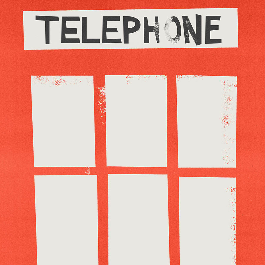 Mounted London red telephone box print