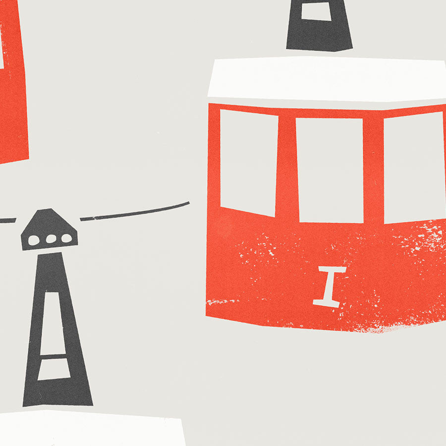 Barcelona Cable Cars illustration greetings card by fox and velvet