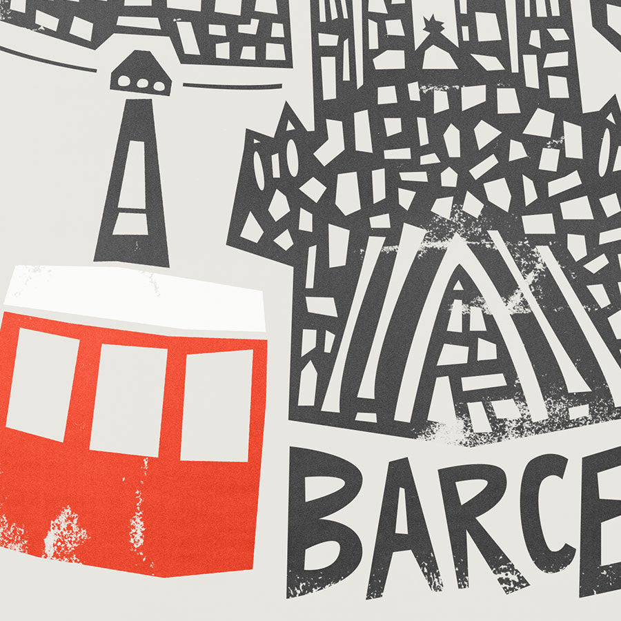 Barcelona Cityscape illustration greetings card by fox and velvet