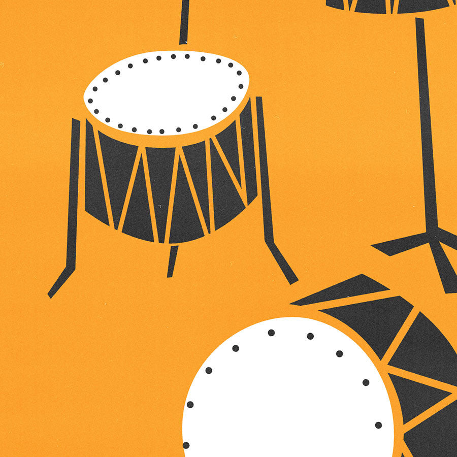 Drums jazz band instrument illustration art print by fox and velvet