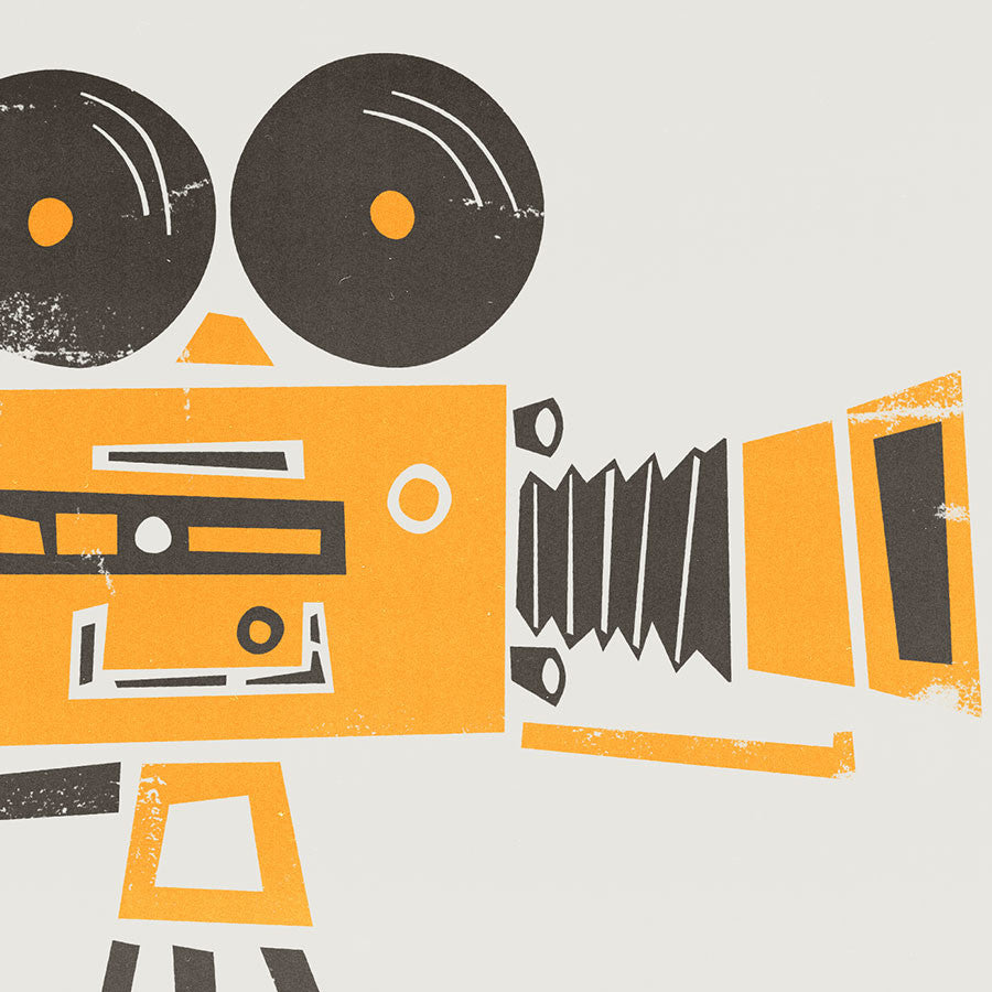 Cine Camera illustration greetings card by fox and velvet
