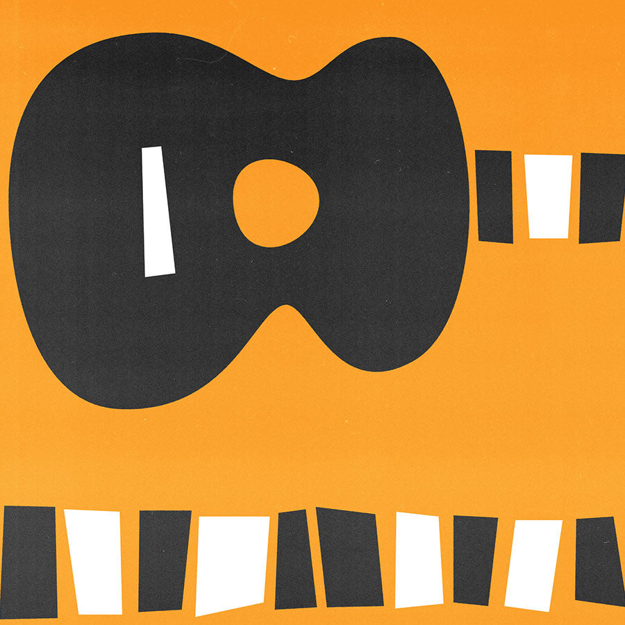 Acoustic guitar mid century modern print