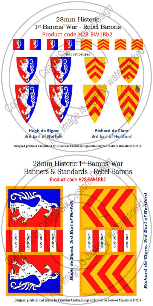 Hugh de Bigod & Richard de Clare, Banners + Decals