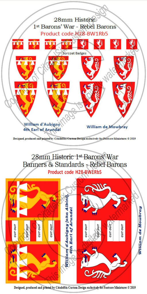 William d'Aubigny & William de Mowbray, Banners + Decals