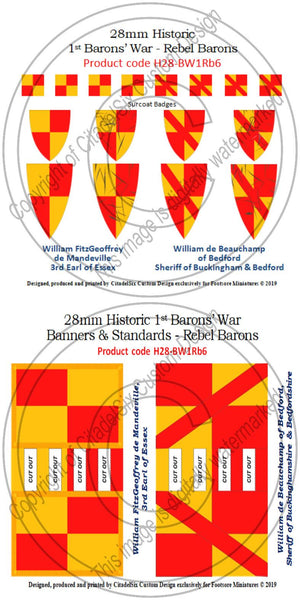 William FitzGeoffrey de Mandeville & William de Beauchamp of Bedford, Banners + Decals