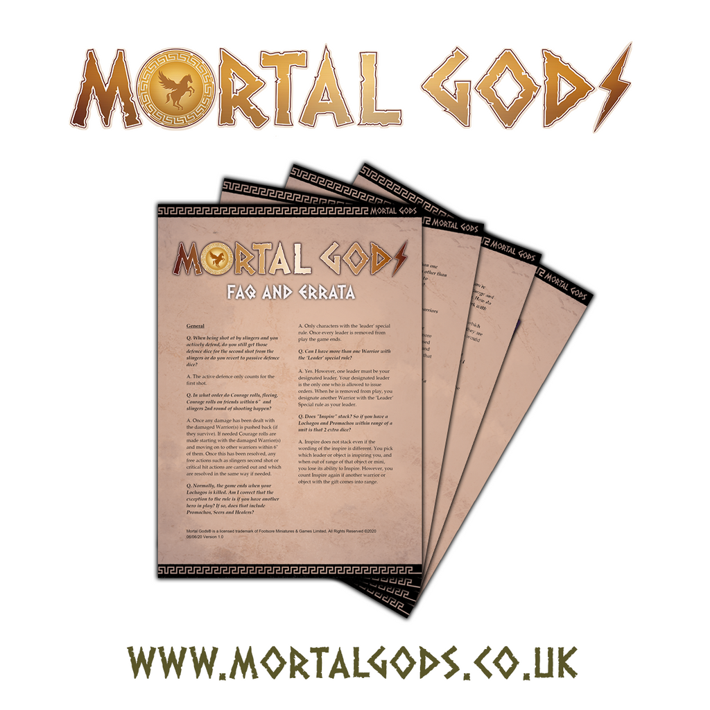 Mortal Gods Latest FAQ & Errata