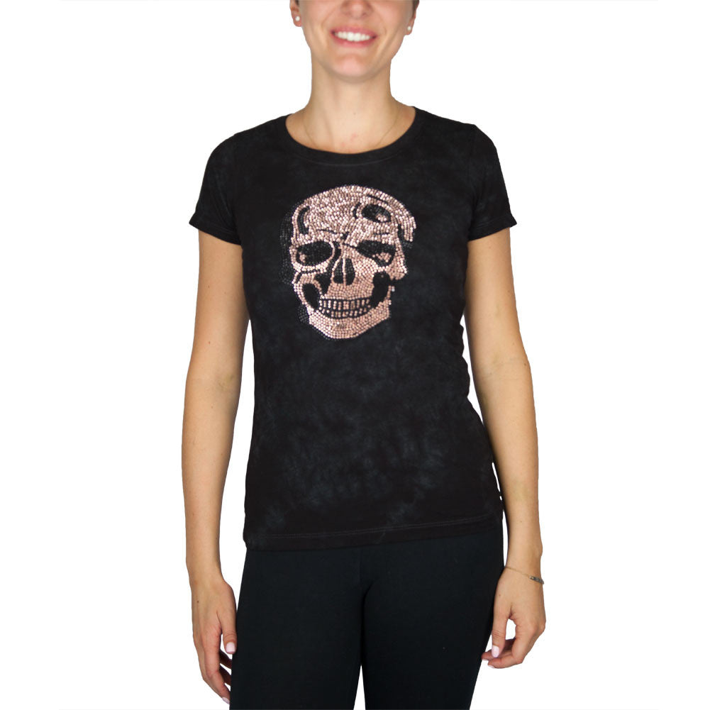 Rose Gold Skull Black Tie Dye T Shirt