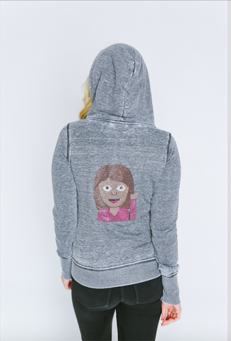 Hair Flip Emoji Burnout Femme Womens Zip-Up Hoodie