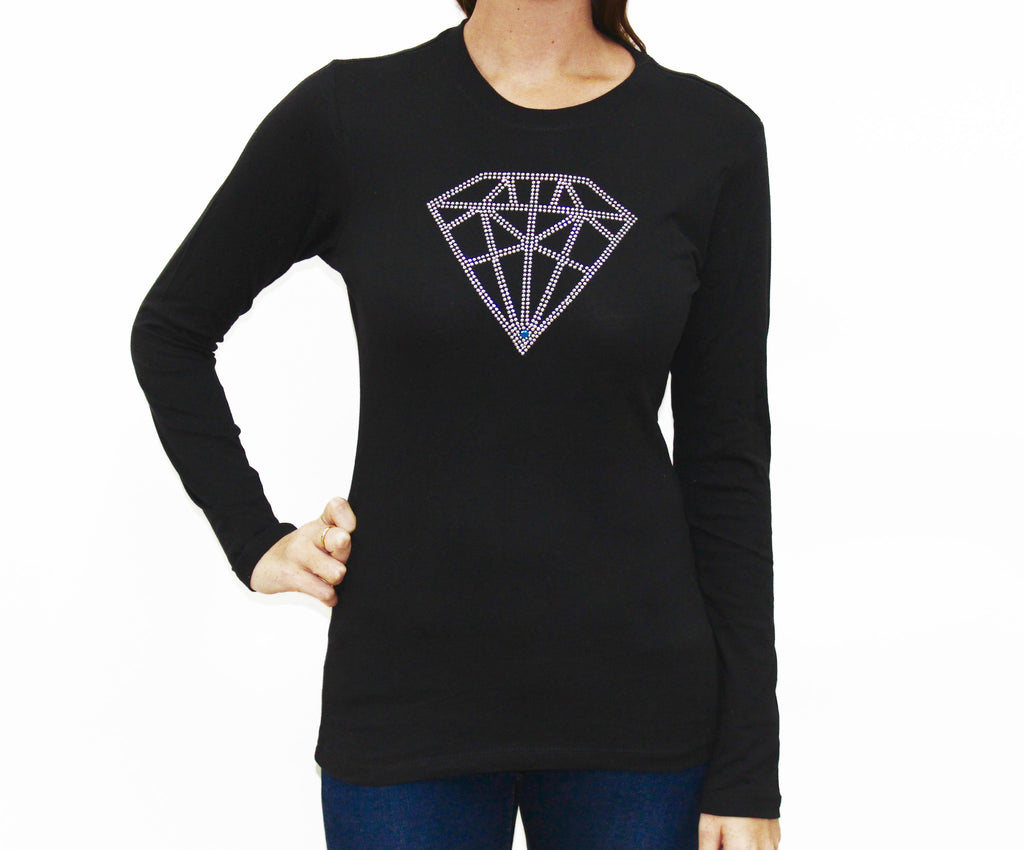 Diamond Long Sleeve Crew Neck T Shirt
