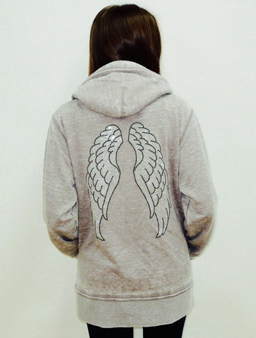 Angel Wings Womens Burnout Boyfriend Pullover Hoodie