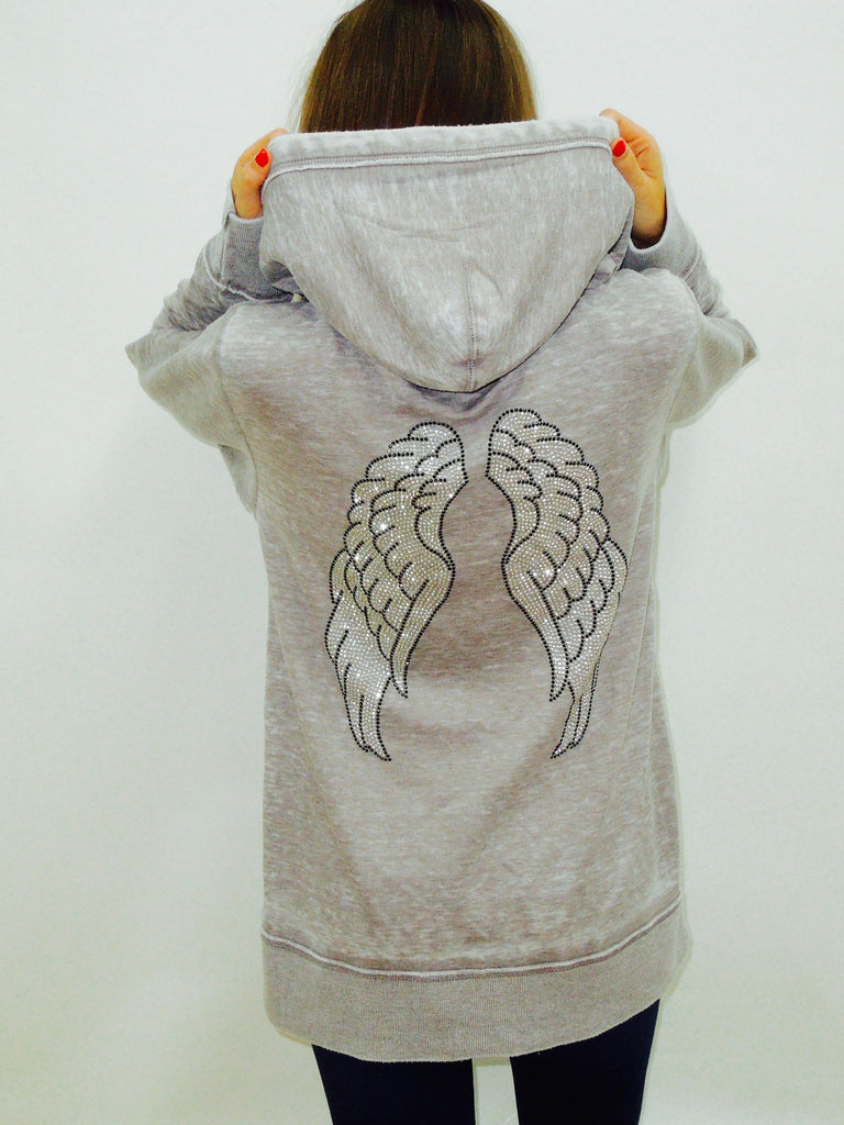 Angel Wings Burnout Womens Boyfriend Zip-Up Hoodie