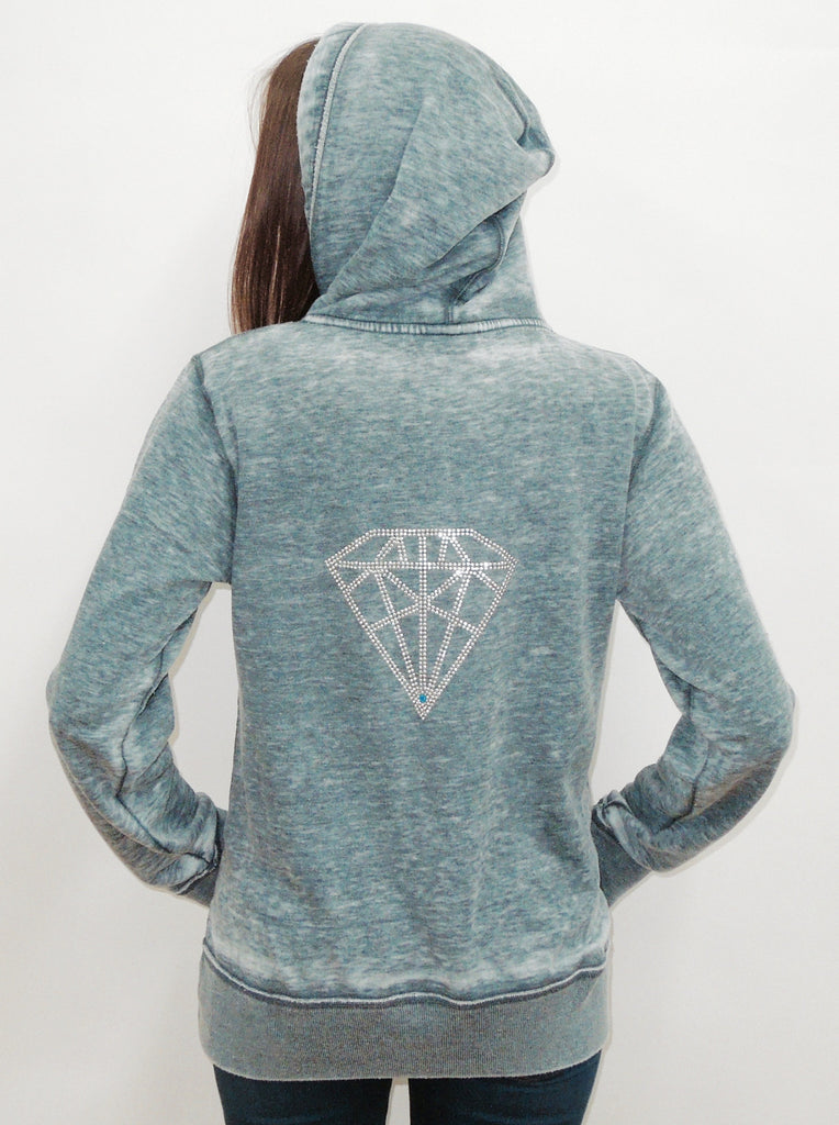 Diamond Burnout Womens Boyfriend Zip-Up Hoodie