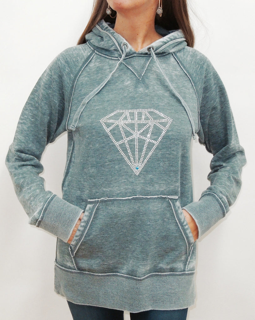 Diamond Burnout Womens Boyfriend Pullover Hoodie