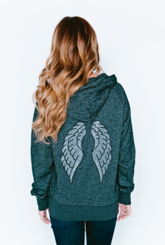Wings Glitter Baseball Zip-Up Hoodie