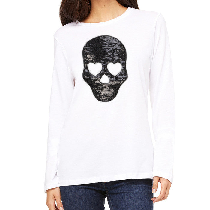 Long Sleeve Crew Neck Shirt w/ SEQUIN SKULL