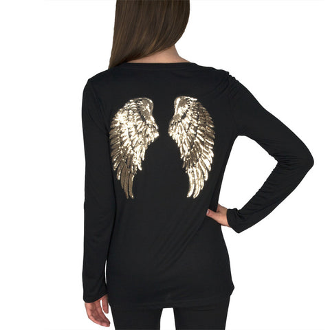Long Sleeve Crew Neck Shirt w/ GOLD SEQUIN WINGS