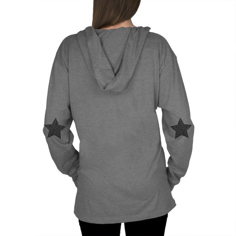 Long Sleeve Hooded Shirt w/ Leather Star Elbow Patches