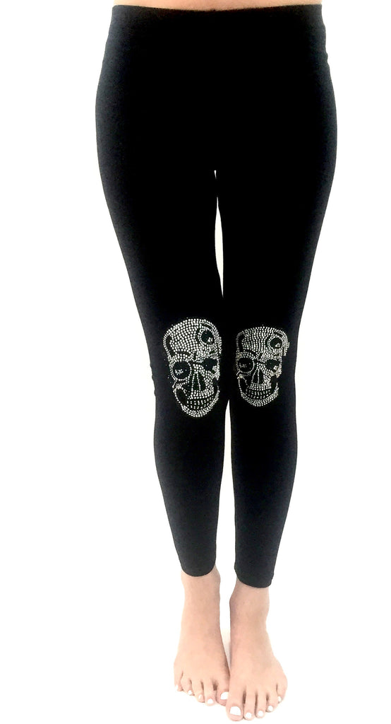 Mini Silver Skull Knee Pads Leggings