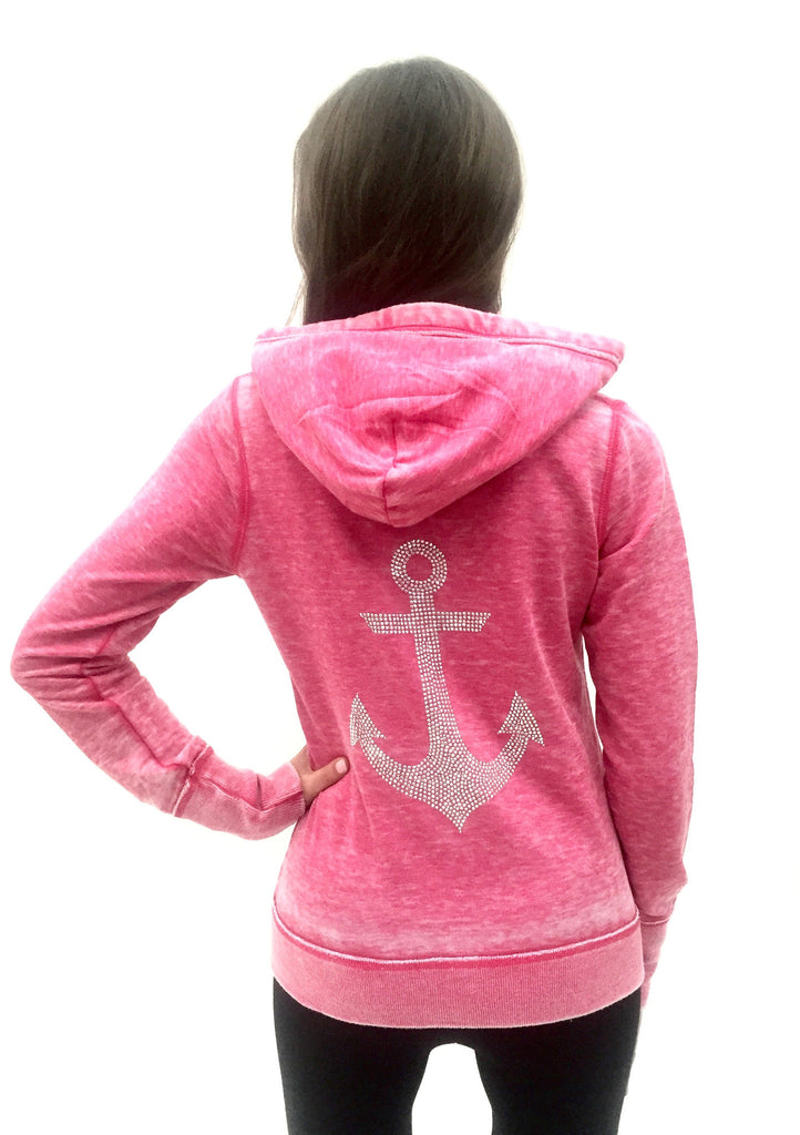 Anchor Burnout Femme Womens Zip-Up Hoodie