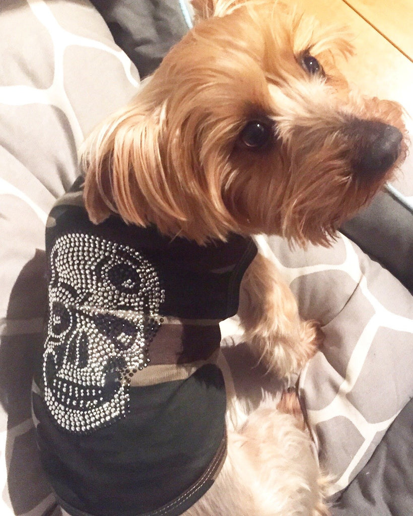 Skull Dog Shirt in Green Camo