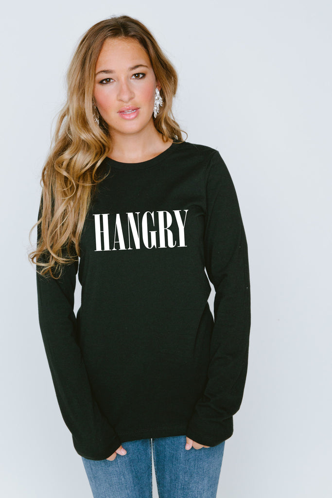 Hangry Long Sleeve Crew Neck T Shirt