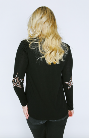 Star Cheetah Elbow Patches Long Sleeve V-Neck T Shirt