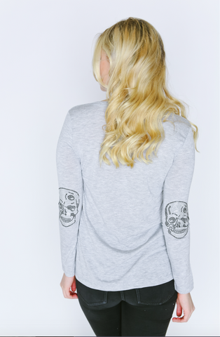 Skull Elbow Patch Long Sleeve V-Neck T Shirt