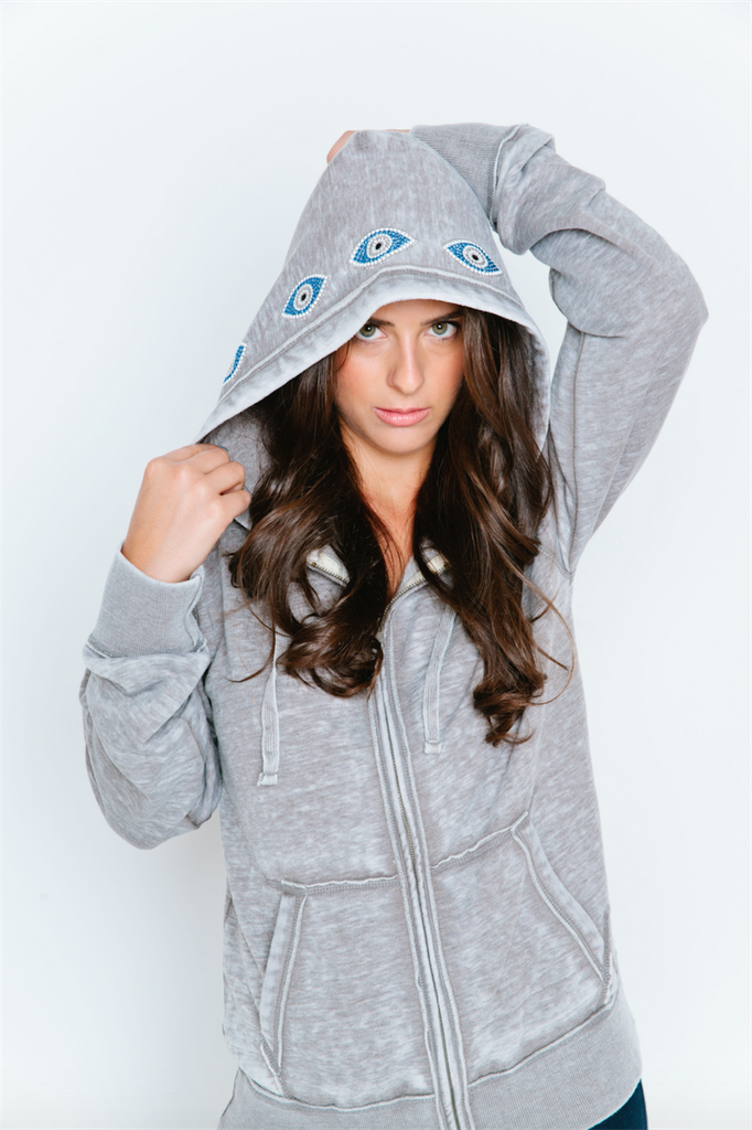 Evil Eye Hood Burnout Womens Boyfriend Zip-Up Hoodie