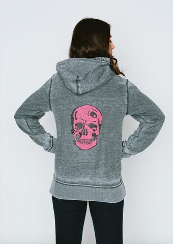 Neon Pink Skull Burnout Womens Boyfriend Zip-Up Hoodie