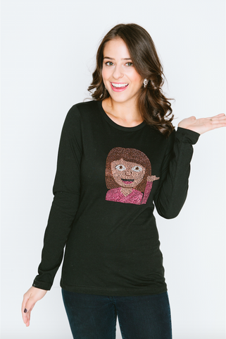 Hair Flip Emoji Long Sleeve Crew Neck T Shirt