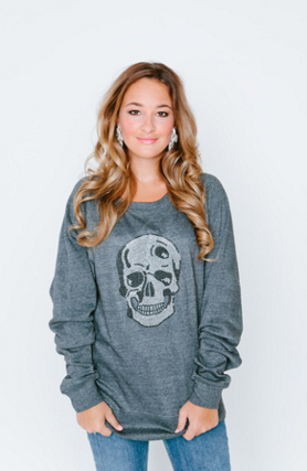Skull Burnout Crew Neck Sweatshirt
