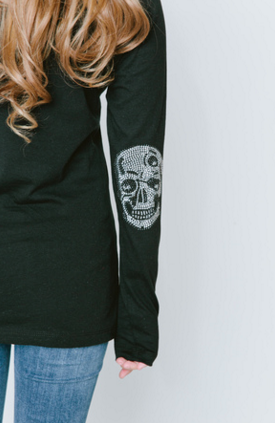 Skull Elbow Patch Long Sleeve Crew Neck T Shirt