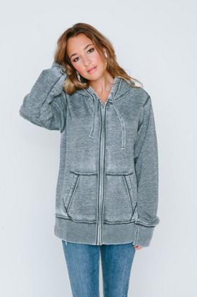 Burnout Womens Boyfriend Zip-Up Hoodie