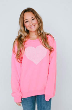 White Heart Neon Pink Crew Neck Sweatshirt