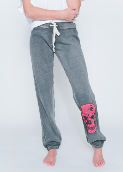 Neon Pink Skull Burnout Sweatpants