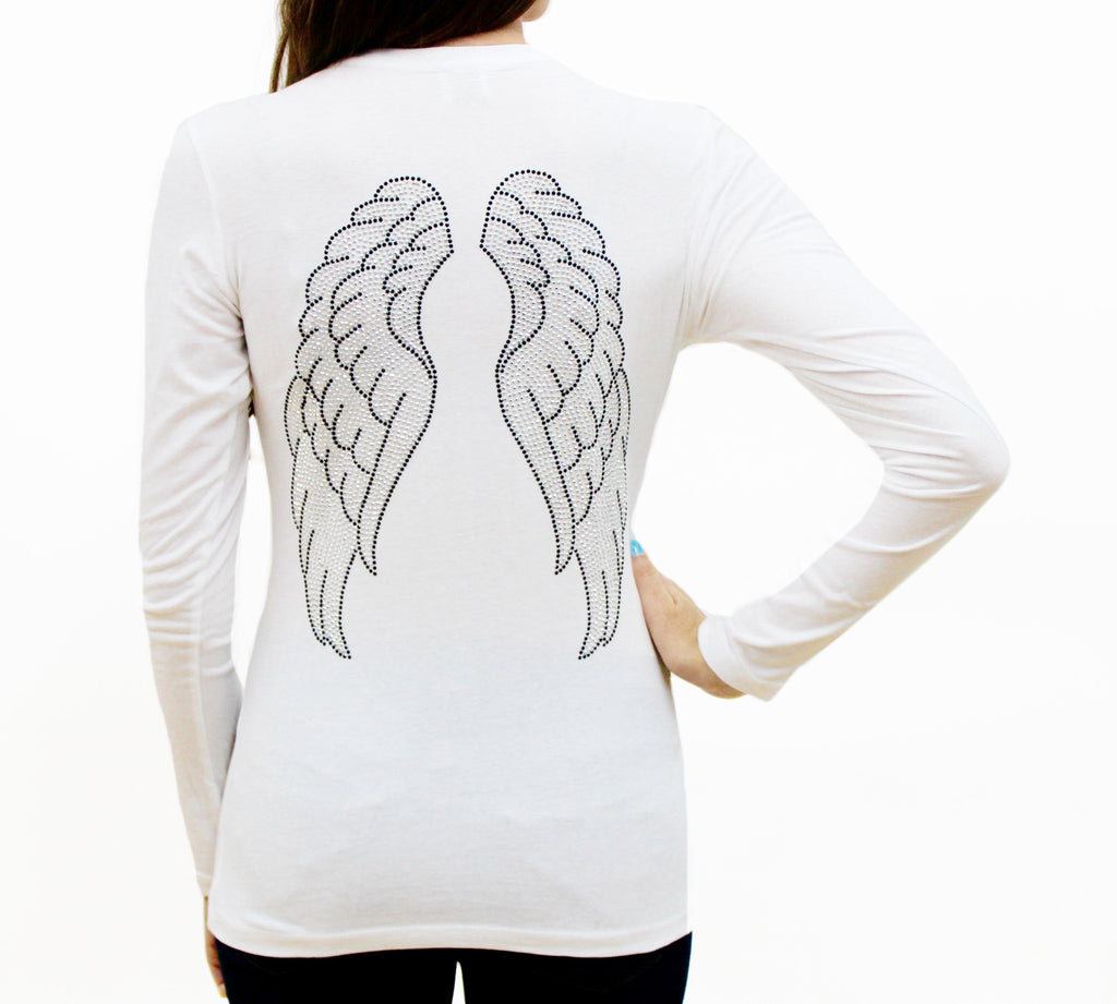 Angel Wings Long Sleeve Crew Neck T Shirt