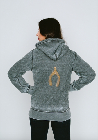 Wishbone Burnout Womens Boyfriend Zip-Up Hoodie
