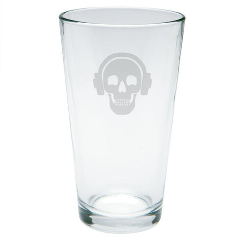 Kings of Cole - Skull with Headphones Etched Pint Glass