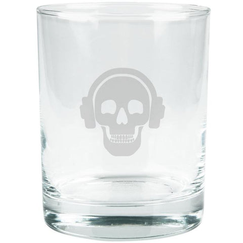 Kings of Cole - Skull with Headphones Etched Glass Tumbler