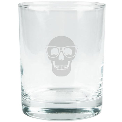 Kings of Cole - Skull with Nerd Glasses Etched Glass Tumbler