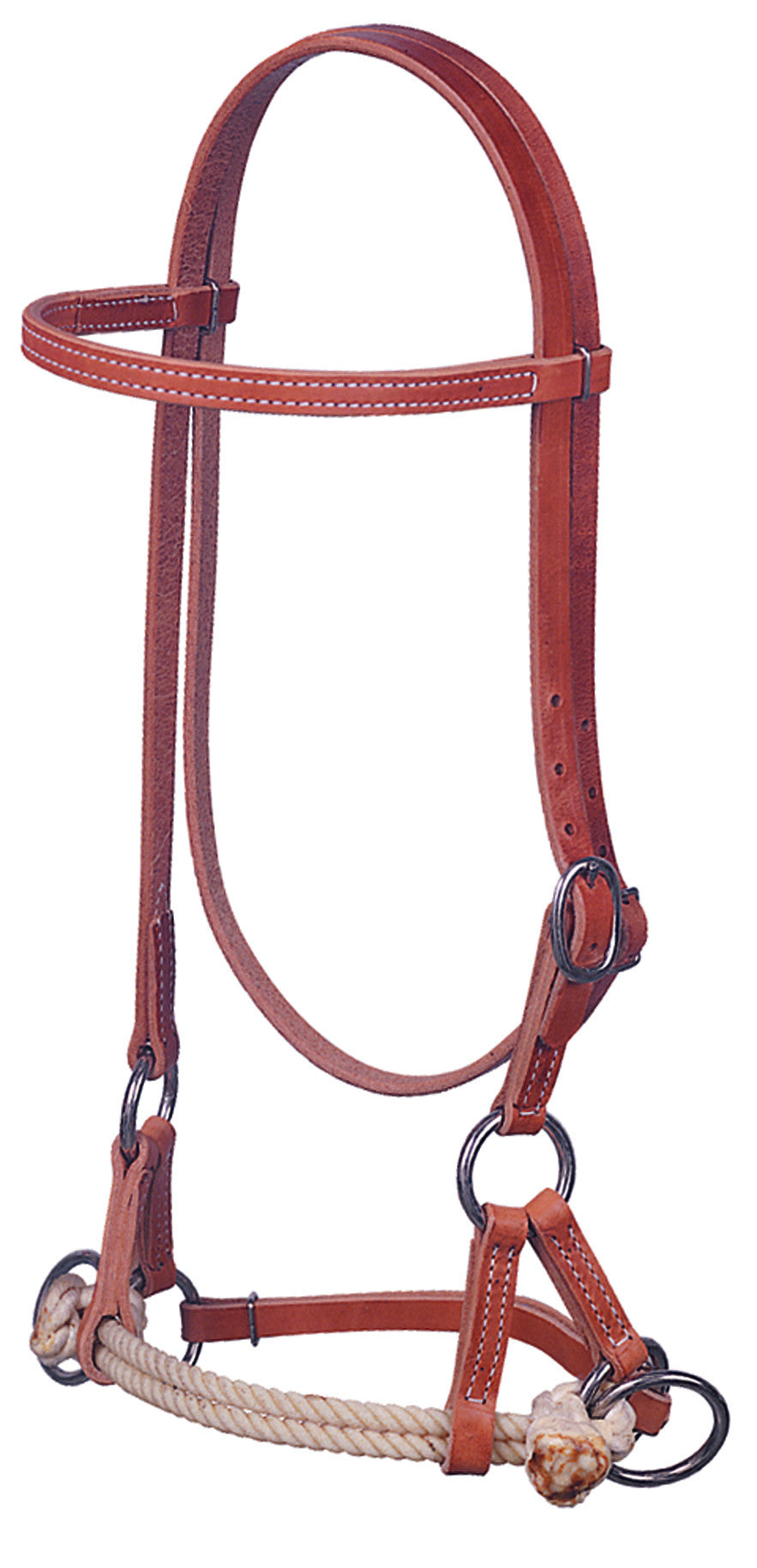 Weaver- Harness Leather Side Pull, Double Rope