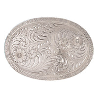 Montana Silversmiths Oval Engraved Western Belt Buckle with Geometric Trim (1850)