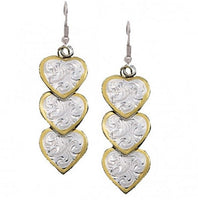 Montana Silversmiths Triple Hearts of Silver and Gold Dangle Earrings (ER151)