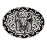 Montana Silversmiths Southwest Classic Impressions Buffalo Skull With Feather Attitude Buckle