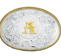 Montana Silversmiths Initial A-Z Silver Engraved Gold Trim Western Belt Buckle (700)
