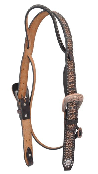 Irvine-Belt Browband Tooling Finish Rowel Concho w/ Flower Spots Headstall