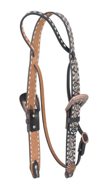 Irvine-Belt Browband Sunburst Concho w/ White Buckstitch Headstall